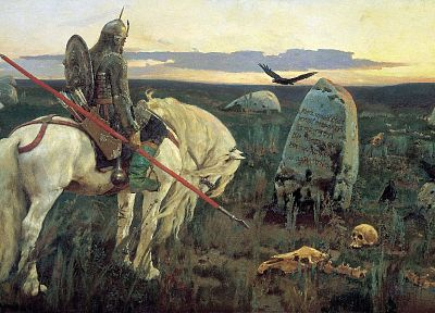 skulls, paintings, weapons, shield, horses, artwork, warriors, spears, graves, Viktor Vasnetsov - desktop wallpaper