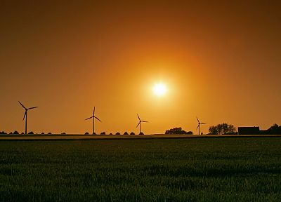 sunset, landscapes, grass, fields, wind turbines - desktop wallpaper