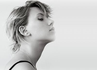 women, Scarlett Johansson, actress, grayscale, faces - random desktop wallpaper