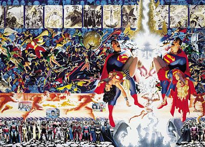 Green Lantern, Batman, DC Comics, Superman, Supergirl, flash, Captain Marvel, Alex Ross, Martian Manhunter, Hawkman, Flash (superhero), George Perez, Crisis on Infinite Earths, Wonder Woman - related desktop wallpaper