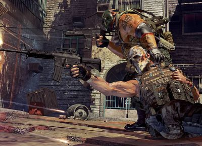 video games, guns, Army of Two, masks - random desktop wallpaper