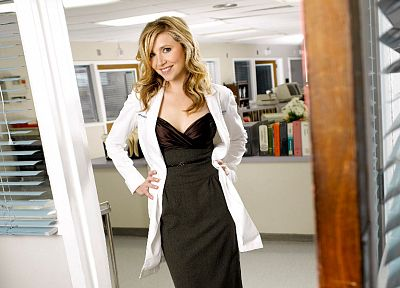 women, Scrubs, Sarah Chalke, Elliot Reed, black dress - related desktop wallpaper