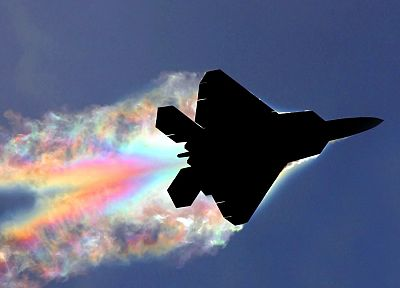 aircraft, military, rainbows, F-22 Raptor, planes, contrails - desktop wallpaper