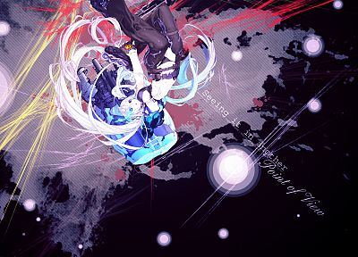 Black Rock Shooter, twintails, white hair - random desktop wallpaper