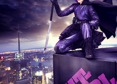 clouds, uniforms, cityscapes, heroines, skirts, buildings, Kick-Ass, masks, movie posters - related desktop wallpaper