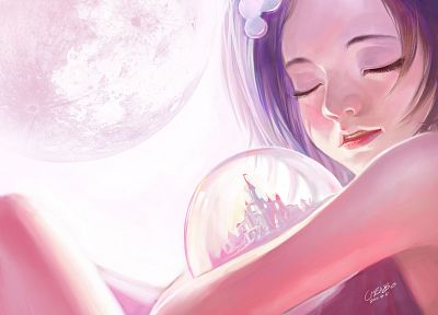 women, artwork, Chenbo - random desktop wallpaper