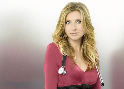 women, blue eyes, Scrubs, Sarah Chalke, Elliot Reed, stethoscopes - random desktop wallpaper