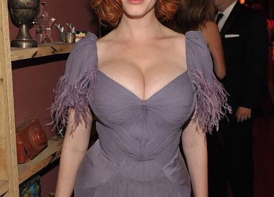 cleavage, Christina Hendricks - random desktop wallpaper