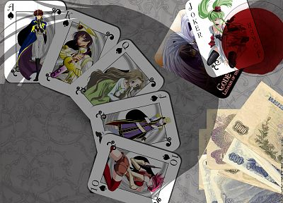 cards, money, Code Geass, Kururugi Suzaku, Stadtfeld Kallen, Lamperouge Nunnally, Lamperouge Lelouch, C.C., Schneizel el Britannia - related desktop wallpaper