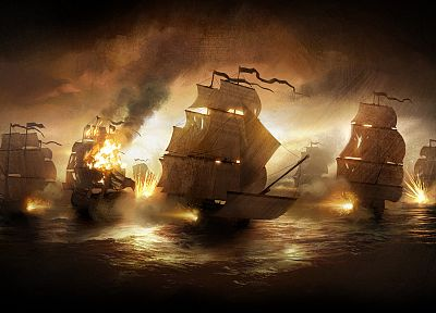 ships, battles, Total War, vehicles, Empire: Total War, sea - desktop wallpaper