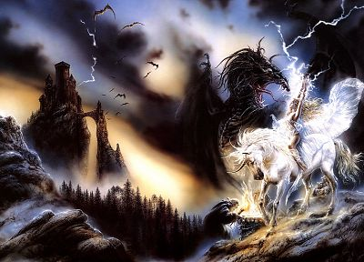 Luis Royo, white, unicorns - random desktop wallpaper