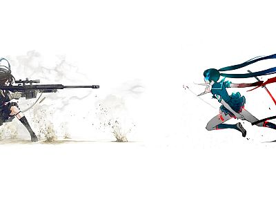 Vocaloid, Black Rock Shooter, Hatsune Miku, katana, school uniforms, duel, sniper rifles, anime, simple background, anime girls, Kozaki Yusuke, sailor uniforms, original characters - related desktop wallpaper