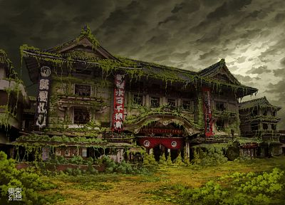 Tokyo, ruins, post-apocalyptic, buildings, overcast, Asian architecture, Ivy, theatre, abandoned, banners, TokyoGenso - related desktop wallpaper