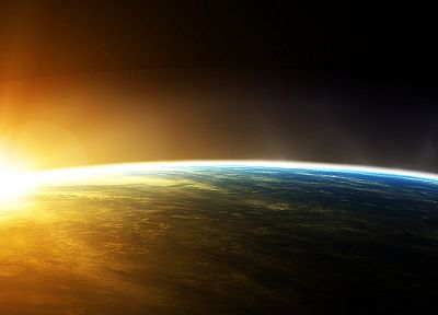 sunrise, outer space, planets, Earth - desktop wallpaper