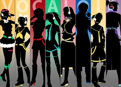 Vocaloid, Hatsune Miku, silhouettes, Megurine Luka, Kaito (Vocaloid), Kagamine Rin, Kagamine Len, anime boys, Megpoid Gumi, Meiko, anime girls, Kamui Gakupo - desktop wallpaper