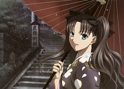 brunettes, video games, Fate/Stay Night, Tohsaka Rin, rain, blue eyes, long hair, outdoors, kimono, stairways, visual novels, twintails, bows, Type-Moon, water drops, umbrellas, Japanese clothes, anime girls, nail polish, hair ornaments, Fate series - related desktop wallpaper