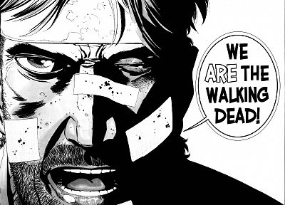 text, comics, grayscale, The Walking Dead, bandaids, faces - desktop wallpaper