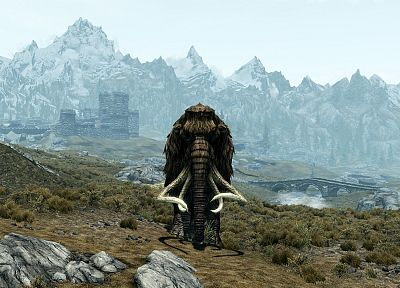 video games, screenshots, mammoth, The Elder Scrolls V: Skyrim - desktop wallpaper