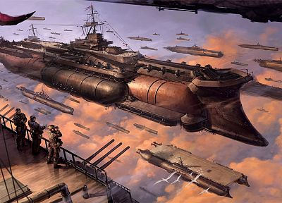 clouds, aircraft, steampunk, Pilot, navy, digital art, aircraft carriers, airship - random desktop wallpaper