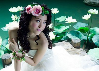 women, water, brides, Asians, lotus flower, flower in hair - related desktop wallpaper