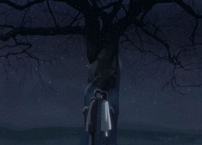 trees, dark, kissing, Makoto Shinkai, 5 Centimeters Per Second - random desktop wallpaper