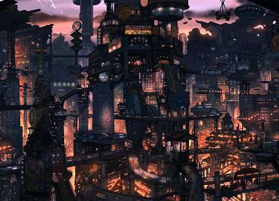 cityscapes, buildings, surreal, imperial boy, digital art - related desktop wallpaper