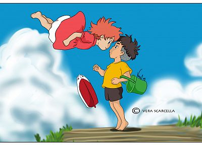 clouds, Ponyo, anime - desktop wallpaper