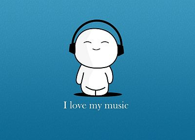 headphones, love, music, text - desktop wallpaper