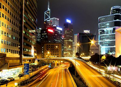 buildings, Hong Kong, roads, city lights, cities - desktop wallpaper