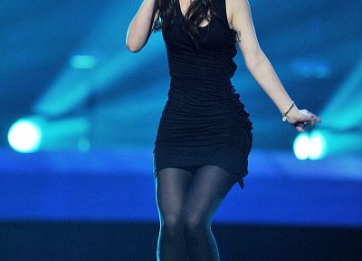 brunettes, women, dress, pantyhose, singers, Lena Meyer-Landrut, standing, Eurovision Song Contest, microphones - desktop wallpaper