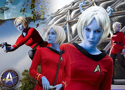 women, cosplay, Star Trek, pantyhose, Aliens, blue skin, Star Trek logos, Andorians, Starfleet Uniform, phaser - related desktop wallpaper