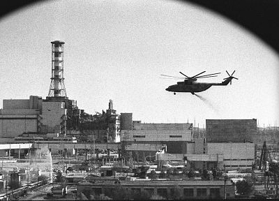 aircraft, helicopters, Chernobyl, monochrome, nuclear power plants, vehicles, Mi-26 - desktop wallpaper