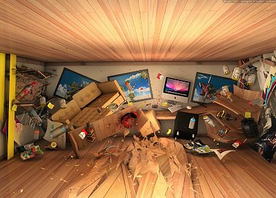3D view, room, home, artwork - random desktop wallpaper