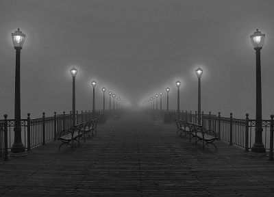 fog, piers, lamps, grayscale - random desktop wallpaper