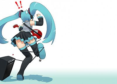 Vocaloid, Hatsune Miku, guitars, twintails, simple background, detached sleeves - desktop wallpaper