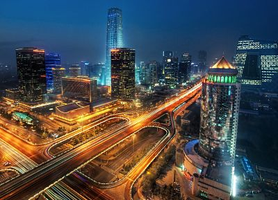 cityscapes, night, China, Beijing, long exposure - related desktop wallpaper
