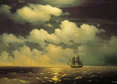 paintings, ships, artwork, vehicles, skyscapes, Ivan Aivazovsky - related desktop wallpaper