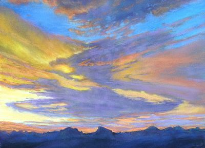 sunset, paintings, sunrise, mountains, clouds - newest desktop wallpaper