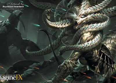 Medusa, snakes, fantasy art, artwork, mythology, Raymond Stantz, imagine fx - desktop wallpaper