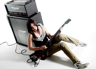 brunettes, women, guitars, amplifiers - related desktop wallpaper