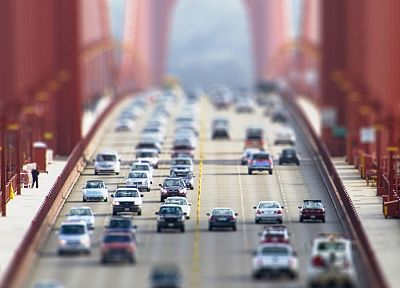 cars, bridges, Golden Gate Bridge, traffic, tilt-shift, vehicles - related desktop wallpaper