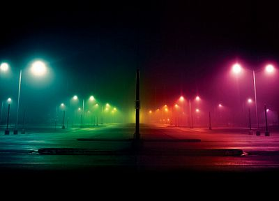streets, lights, multicolor, rainbows - random desktop wallpaper