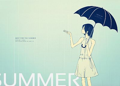 summer, anime, umbrellas - desktop wallpaper