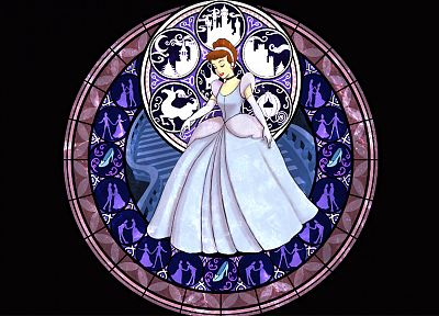 Kingdom Hearts, Disney Company, Cinderella, stained glass - related desktop wallpaper