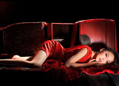 women, Asians, red dress, lying down - duplicate desktop wallpaper