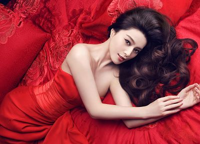 women, beds, Asians, pillows, red dress, curly hair, lying down - random desktop wallpaper