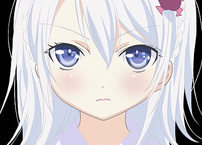 blue eyes, transparent, Denpa Onna to Seishun Otoko, white hair, anime girls, faces, Hoshimiya Yashiro, anime vectors - random desktop wallpaper