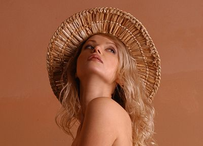 blondes, women, models, topless, straw hat, Zemani magazine, Vilka - desktop wallpaper
