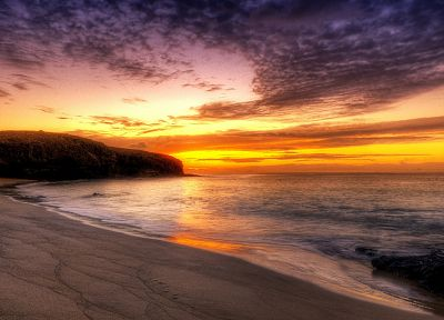 sunset, ocean, landscapes, nature, coast, beaches - desktop wallpaper