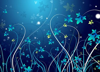 abstract, blue, design, Flora - random desktop wallpaper